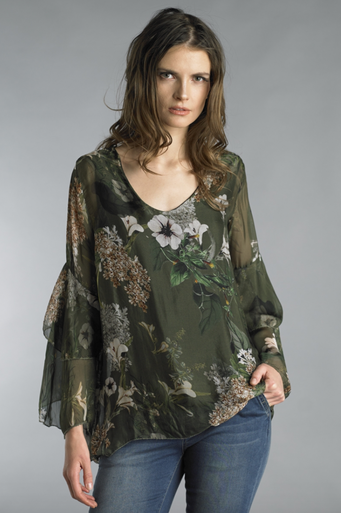 Tempo Paris 8298M Silk Flower Print Top Green