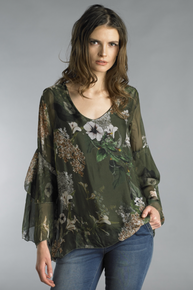 Tempo Paris 8298M Silk Flower Print Top Green