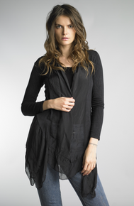 Tempo Paris 2415M Silk and Knit Jacket with Cami Black