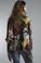 Tempo Paris 1678M Silk Floral Print Poncho Black