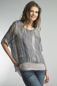 Tempo Paris 5197Q Silk Top with Sequence Taupe