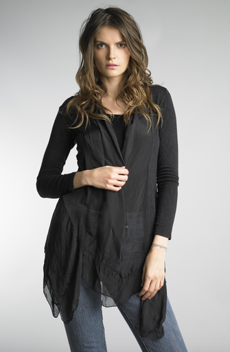 Tempo Paris 5420Q Silk and Jersey Jacket with Cami Black