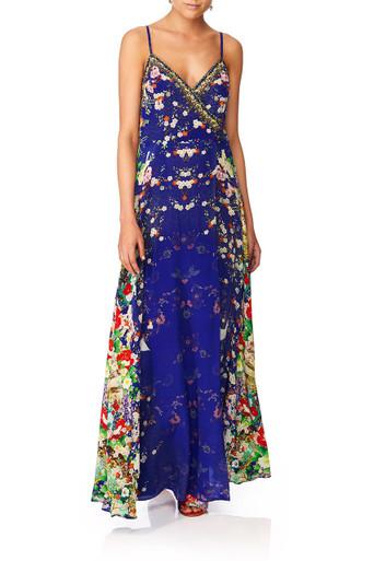Camilla Maikos Midnight Cross Overlay Halter Dress