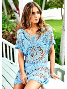 PilyQ Crochet Tunic Pebble Blue