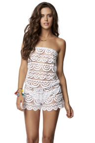 PilyQ Waterlily Marisa Strapless Lace Romper White