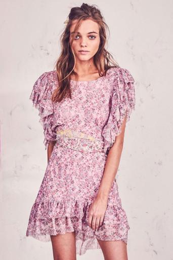 Love Shack Fancy Emmy Silk Dress Pink Print