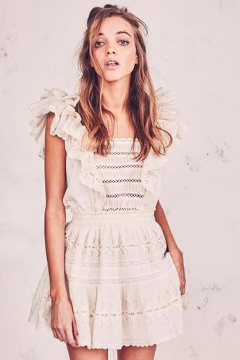 Love Shack Fancy Dora Dress Antique White