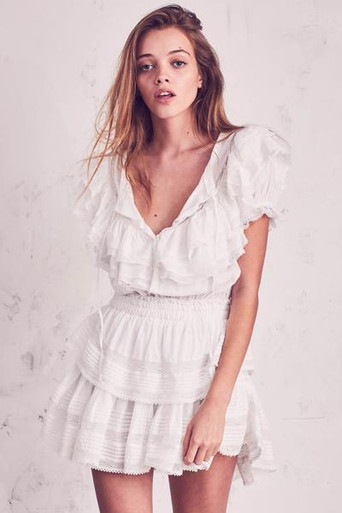 Love Shack Fancy Liv Dress Antique White