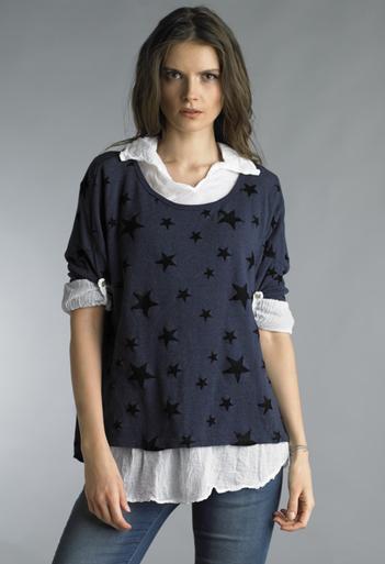 Tempo Paris 5484C Knit Star Top Navy