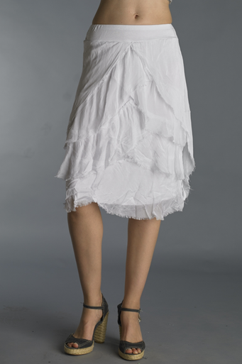 Tempo Paris Silk Tulip Knee High Tiered Skirt White