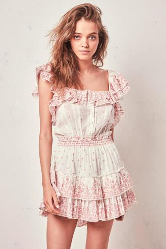 Love Shack Fancy Marina Ruffle Dress Meringue