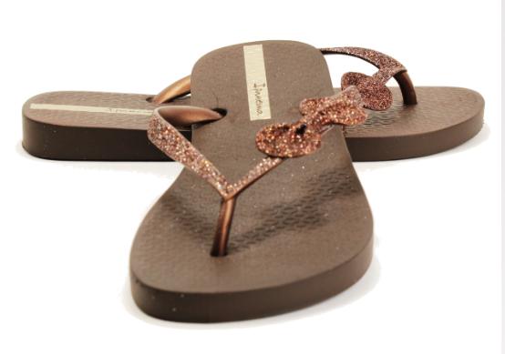 Ipanema Shoes Glitter Bow Flip Flops Brown Bronze  Shop -9412