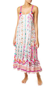 Juliet Dunn London Tribal Tassel Maxi Dress White Jade