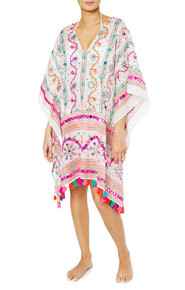 Juliet Dunn London Tribal Poncho with Tassels White