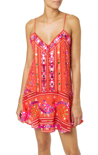 Juliet Dunn London Tribal Slip Dress Tomato