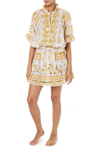 Juliet Dunn London Tribal Blouson Dress with Sash Ties Mustard