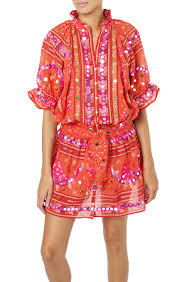 Juliet Dunn London Tribal Blouson Dress with Sash Ties Tomato