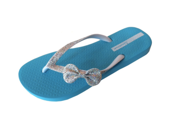 Ipanema Shoes Glitter Bow Flip Flops Blue Silver  Shop -9680