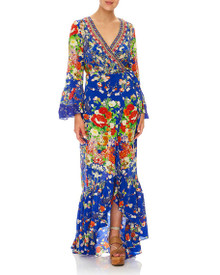 Camilla Long Sleeve Wrap Dress Playing Koi