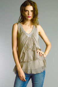 Tempo Paris V-Neck Tulip Silk Top 60346Q Beige