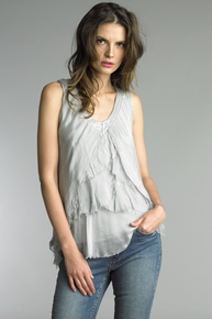 Tempo Paris V-Neck Tulip Silk Top 60346Q Silver