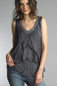 Tempo Paris V-Neck Tulip Silk Top 60346Q Dark Gray
