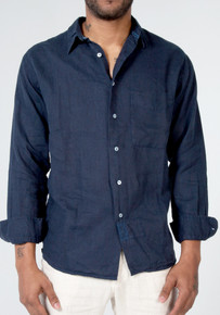 Claudio Milano Linen Relaxed Shirt 1005 Navy Blue
