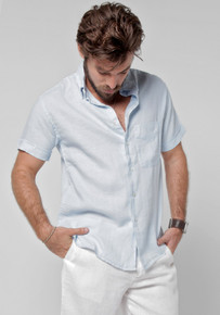 Claudio Milano Short Sleeve Linen Relaxed Shirt Light Blue
