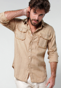 Claudio Milano Regular Fit Linen Shirt with Pockets Khaki
