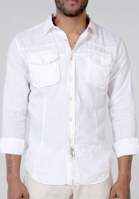 Claudio Milano Regular Fit Linen Shirt with Pockets White