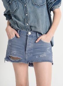 One Teaspoon Junkyard Mini Skirt Blue Haze