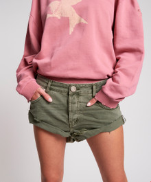 One Teaspoon Denim Shorts Super Khaki Bandits