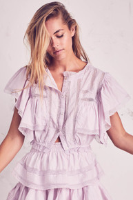 Love Shack Fancy Nora Top with Ruffle Skirt Set Antique White