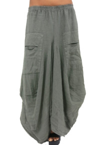 Tempo Paris Linen Skirt 712LA Forest Green