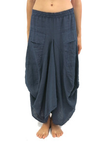 Tempo Paris Linen Skirt Navy