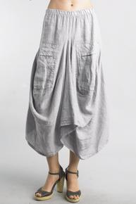 Tempo Paris Linen Skirt 712LA Silver