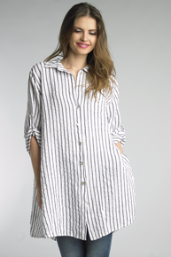 Tempo Paris Long Button Down Tunic Striped White