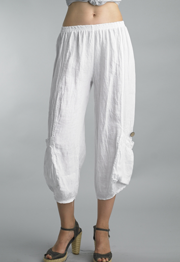 Tempo Paris Linen Crop Pants 20014S White