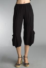 Tempo Paris Linen Crop Pants 20014S Black
