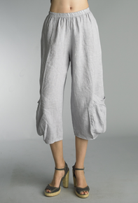 Tempo Paris Linen Crop Pants 20014S Silver