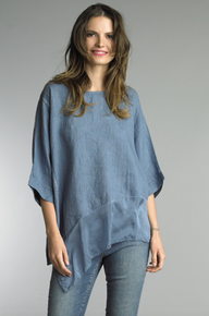 Tempo Paris Linen Silk Edge Top 7043CC Denim