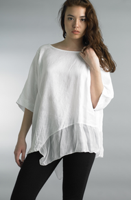 Tempo Paris Linen Silk Edge Top 7043CC White