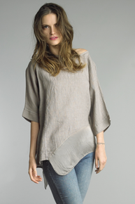 Tempo Paris Linen Silk Edge Top 7043CC Taupe