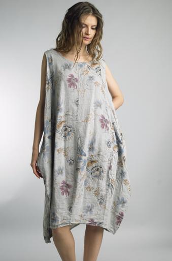 Tempo Paris Linen Printed Bubble Dress Gray
