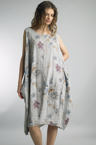 Tempo Paris Linen Printed Bubble Dress Gray