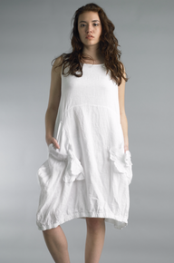 Tempo Paris Linen Rosette Dress 7052CC White