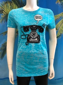 Telephone Beaded T-shirt Turquoise