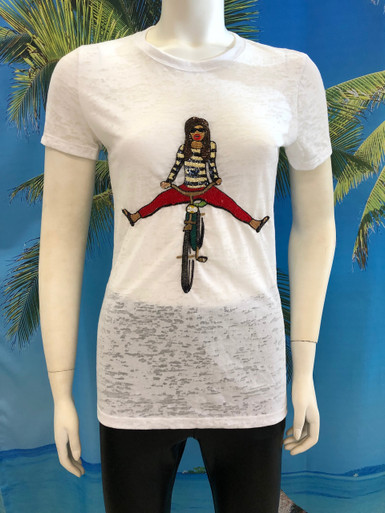 Girl On Bike Beaded T-shirt White