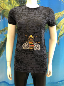 Centered Bee Beaded T-shirt Black