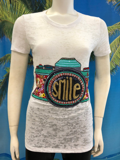 Flirt Exclusive Camera Smile Beaded T-shirt White